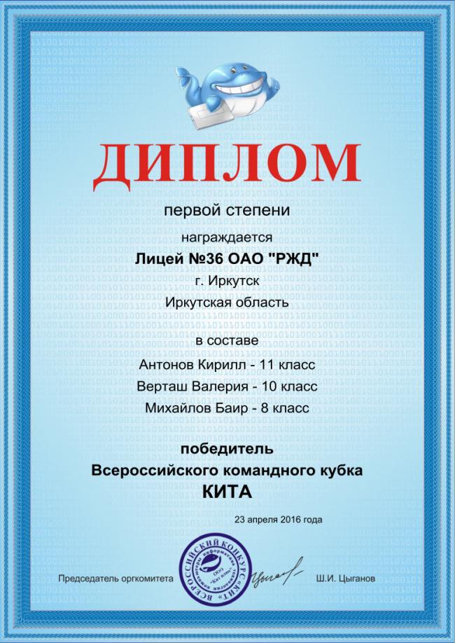 Кубок КИТа Олимпиады турниры Новости Лицей № 23 апреля 2016 г команда Лицея традиционно стала участником Всероссийского командного кубка Кита В этом году мы получили диплом победителя